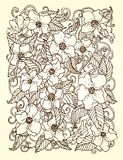 Original hand drawn pattern card with flowers. Royalty Free Stock Photo