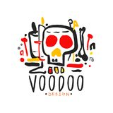 Original hand drawn Voodoo magic logo design template with mystic skull. Traditional religion and mystical culture. Original hand drawn Voodoo magic logo design Stock Images