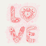 Original hand drawn word love. Romantic floral background with. Love, vector doodle. Card design Stock Photography