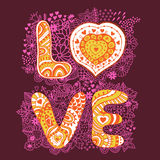 Original hand drawn word love. Romantic floral background with Royalty Free Stock Photo