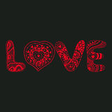 Original hand drawn word love. Romantic floral background with Stock Photo