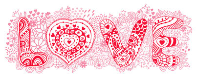 Original hand drawn word love. Romantic floral background with Royalty Free Stock Photos