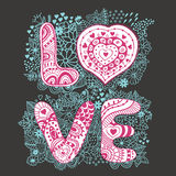 Original hand drawn word love. Romantic floral background with Stock Photos