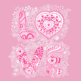 Original hand drawn word love. Romantic floral background with Royalty Free Stock Image