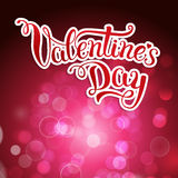 Original hand lettering Happy Valentine's day on crimson backgro Royalty Free Stock Photo