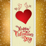 Original hand lettering. Happy Valentine's day with two birds and heart on a golden background. Vector illustration for Valentine's day posters, icons Stock Photography