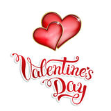Original hand lettering Happy Valentine's day on white background Royalty Free Stock Photo