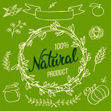 Original hand lettering Natural and hand draw eco food design el Royalty Free Stock Photo