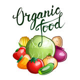 """Original hand lettering """"Organic food"""" and several vegetable Royalty Free Stock Image"""