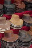 Robust hand made leather hats from Australia. Original hand made leather hats from Australia. The hats are made of kangaroo, roo and crocodile leather stock photos