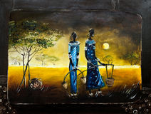 African theme painting. An original hand painted oil painting with an African theme Stock Photography