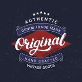 Original hand written lettering for label, badge, tee print. Denim wear. Apparel design. Grunge texture. Vector illustration Royalty Free Stock Photo