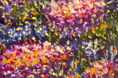 Big texture abstract flowers. Close up fragment of oil painting artistic flowers image. Palette knife flowers macro. Macro artist`. Original handmade abstract Stock Photos