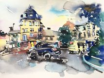 Original handmade watercolor painting artwork of cityscape royalty free illustration