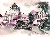 Original handmade watercolor painting artwork of cityscape stock illustration
