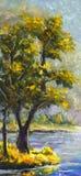 Original- handpainted gräsplan för olje- målning sörjer trädet på färgrik kanfas - sörja trädmålning - modern impressionismkonst Arkivbild