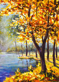 Original handpainted Oil Painting autumn Tree on canvas - colorful orange tree painting - Modern impressionism art. stock illustration