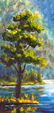 Original handpainted Oil Painting Green Pine Tree on canvas - colorful pine tree painting - Modern impressionism art. Stock Photo