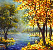 Original handpainted Oil Painting sunny big autumn orange tree, Green Pine Tree on canvas - colorful trees, blue mountain river Royalty Free Stock Photography