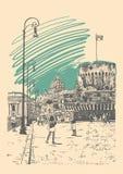 Original- handteckningscityscape med fästningen av Sant Angelo stock illustrationer