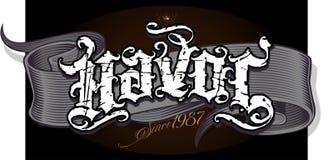 Original havoc design. Original vintage grunge script with dirty scratches vector illustration