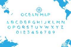 Original- havsstilsort i form av en världskarta med en retro kompass på bakgrunden Latinska bokstäver och nummer för vektor illustrationer