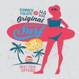 Original hawaii surf logo and typography. Stock Photo
