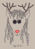 Original hipster christmas deer with sunglasses Stock Images