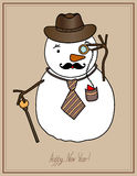 Original hipster snowman in a hat, tie, mustache Royalty Free Stock Images