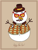 Original hipster snowman in sunglasses, hat, Royalty Free Stock Photo
