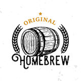 Original homebrew retro badge with wooden barrel. Beer themed symbol in vintage style Stock Photo