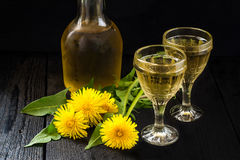 Original homemade dandelion wine Royalty Free Stock Photography