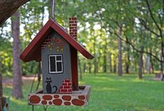 The original house for birds on a tree branch in the city Park.  stock images