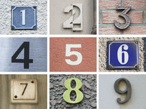 Original house numbers 10 to 18 Royalty Free Stock Photos