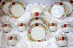 Original hungarian handmade Kalocsa motives porcelain tableware royalty free stock images