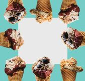 The original idea is a lot of ice cream on a blue and white background. Summer concept. In the middle is space for text Royalty Free Stock Photos