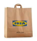 Original IKEA paper shopping bag isolated on white Stock Photography