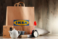 Original IKEA paper shopping bag and its products Stock Photos