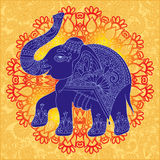 Original indian pattern with elephant for invitation royalty free illustration