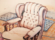 Original ink drawing of sofa in room Royalty Free Stock Image