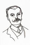 Original ink line drawing. Portrait of an Edwardian gentleman. Royalty Free Stock Image