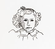 Original ink line drawing. Portrait of an Edwardian girl. Royalty Free Stock Photo