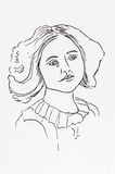 Original ink line drawing. Portrait of an Edwardian young lady. Stock Photo
