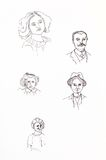 Original ink line drawings. Collection of vintage portraits. Stock Images