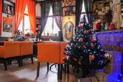 An original interior of the restaurant. Festive Christmas interiors of hotels and restaurants Royalty Free Stock Photo
