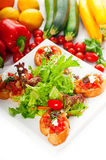 Original Italian fresh bruschetta Stock Images