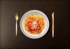 Italian pasta all`amatriciana. Original italian pasta all`amatriciana Royalty Free Stock Photo