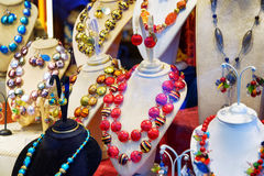 Original jewelry from Murano Glass in shop window, Venice, Italy Royalty Free Stock Photos