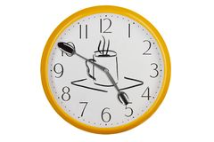 Coffee time concept. Original kitchen clock with silver spoons and handdrawn cup of coffee Stock Photos