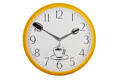 Coffee time concept. Original kitchen clock with silver spoons and handdrawn cup of coffee Royalty Free Stock Images